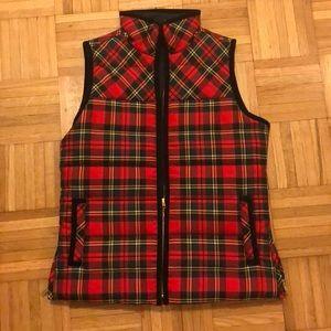 J. Crew Plaid Tartan Puffer Vest